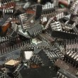 Pile old electronic chip - Foto Stock