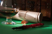 Secret scroll with a wax seal — Stock Photo