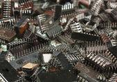Chip electrónico viejo pila — Foto de Stock