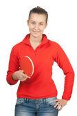 Jeune fille avec un ping-pong raquette — Photo