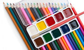 Watercolor paints and brushes — Стоковое фото