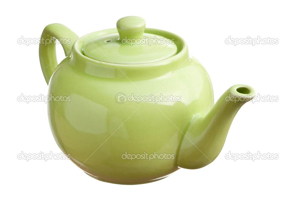 Green teapot  isolated on white background — Stock Photo #4935563