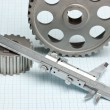 Gears and caliper - Stock Photo