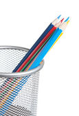 Colored pencils in basket — Stock Photo