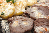 Fried potatoes with meat — Stock Photo