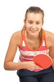 年轻的女孩扮演乒乓球 — 图库照片