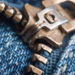 Locking zipper on jeans — Stock Photo
