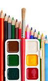 Pinceles y pinturas de acuarela — Foto de Stock
