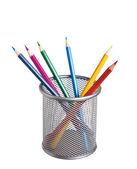 Lápis de cor na cesta — Fotografia Stock