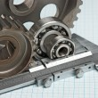 Caliper with gears and bearings - 图库照片