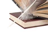 Stack of books and quill — Stock Photo