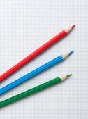 Κόκκινο πράσινο μπλε μολύβια — Φωτογραφία Αρχείου
