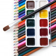 Watercolor paints and brushes — Stock Photo #5163812