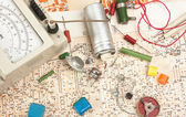 Multimeter and electronic component — Stock Photo