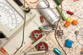 Multimeter and electronic component — Stok fotoğraf