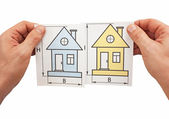 Development drawings in hand — Stock Photo