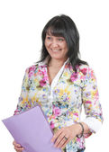 Mature business lady with a folder — Stock Photo