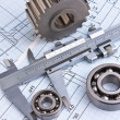 Mechanical drawing and pinion — Stock Photo #5214458