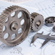 Mechanical drawing and pinion — Stock Photo #5214474