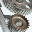 Gears and caliper — Stockfoto