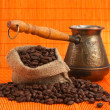 Coffee beans and coffee maker — Stock Photo