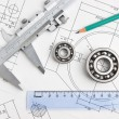 Technical drawing and bearing — Foto Stock