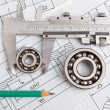 Royalty-Free Stock Photo: Technical drawing and bearing