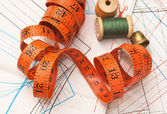 Verschillende naaien accessoires in de regeling — Stockfoto