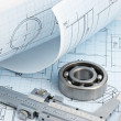 Stock Photo: Technical drawing and callipers