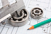 Technical drawing and bearing — Photo