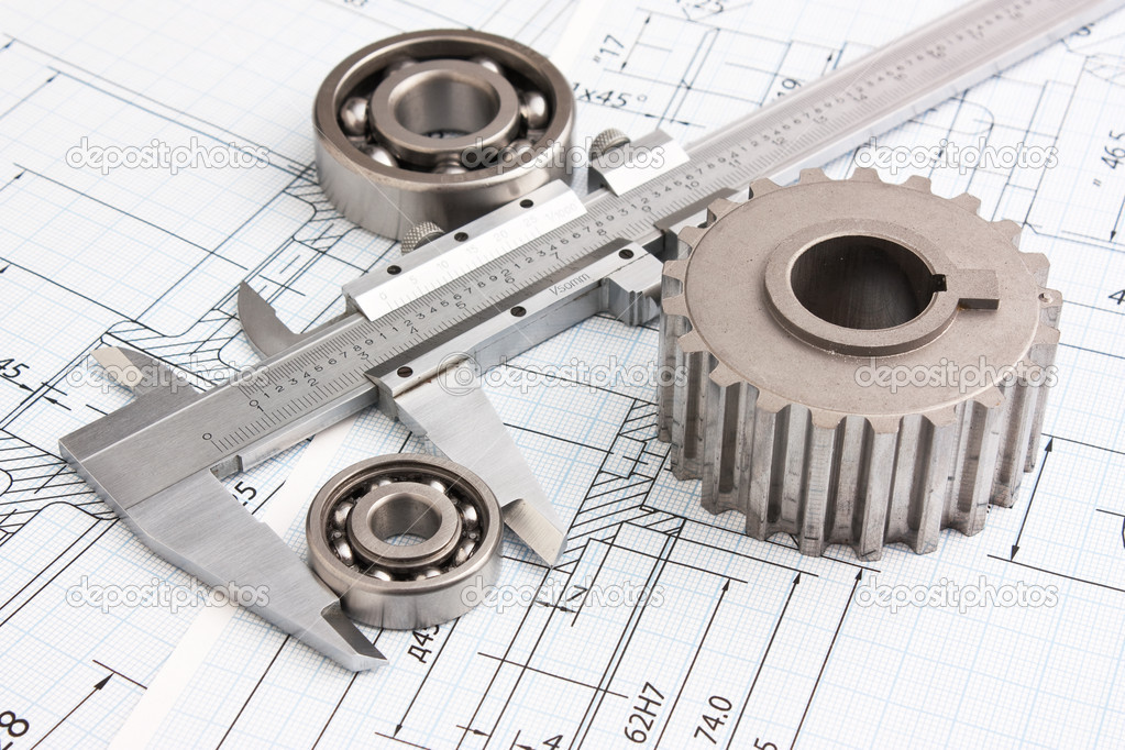 Technical drawing and pinion with bearings — Stock Photo #5293369