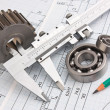 Mechanical drawing and pinion — Stock Photo