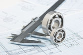 Technical drawing and bearing — Foto de Stock
