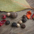 Spices on old wooden table — Stock Photo