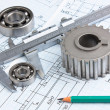 Stock Photo: Mechanical drawing and pinion