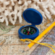 Old map and compass — Stock Photo