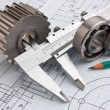 Mechanical drawing and pinion — Stock Photo #5340907