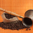 Coffee beans and coffee maker - Stock Photo