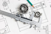 Technical drawing and bearing — Stock Photo