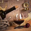 Bottle and glass of wine — Stockfoto #5372403