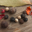 Spices on old wooden table — Lizenzfreies Foto