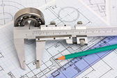 Technical drawing and bearing — Stockfoto