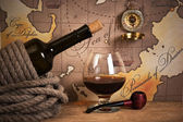 Bottle and glass of wine — Stockfoto