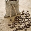 Coffee beans in sack — Stock Photo #5066640