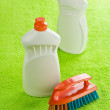 Two cleaner bottles and brash — Stock Photo