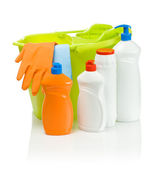 Cleaning accessories with green bucket — Stock Photo