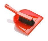 Plastic dustpan with brush on it — Stock Photo
