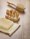 Massager brush and bast — Stock Photo