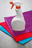 Three towels with bottle — Stock Photo