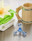 Accessories for bathing on wooden background — Stock Photo